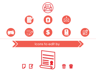 Application icons edit alert cost mail delete document