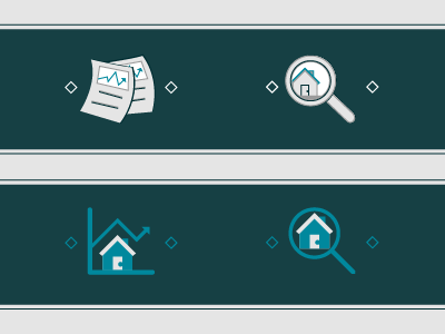 Market trends, housing search flat line icon housing market papers magnifying glass