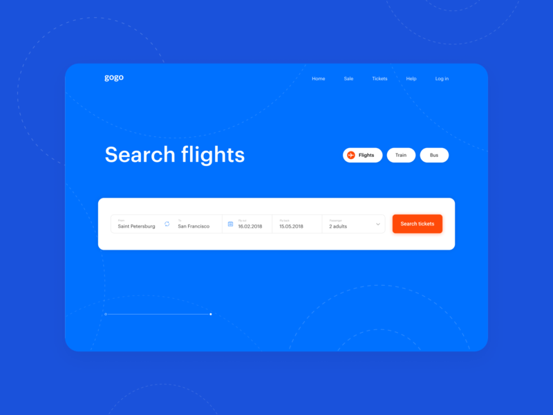 Flight Booking simple flights flight search ticket travel booking electric blue minimal homepage webdesign ux ui