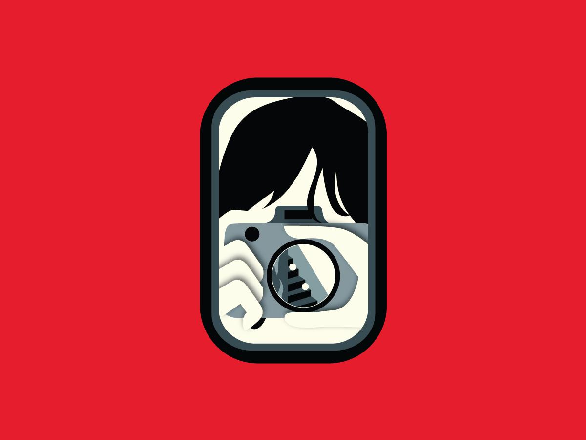 Self-awareness poster design summer red architecture branding vector illustration