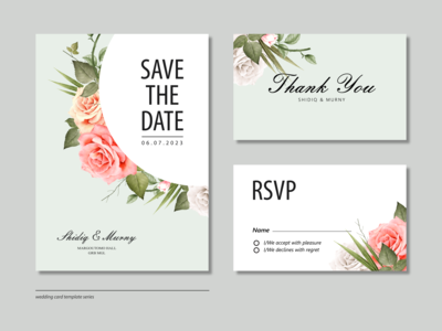 Beautiful Wedding Card Set Template With Floral Watercolor