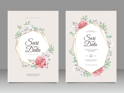 Golden geometric wedding invitation card set with floral aquarel