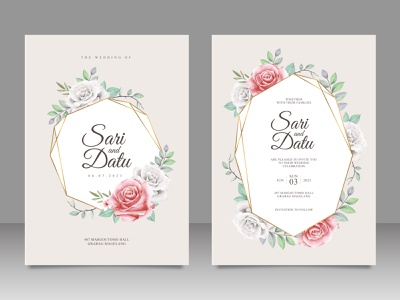Golden geometric wedding invitation card set with floral aquarel template rose flower wedding paint watercolor save the date invitation flower celebration card
