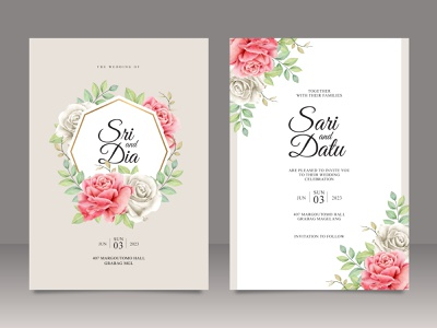 Set of wedding card template with floral frame multi purpose rose flower floral wedding watercolor save the date paint invitation flower celebration card