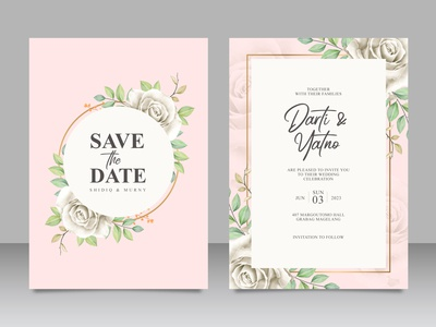 Beautiful floral frame wedding card set template