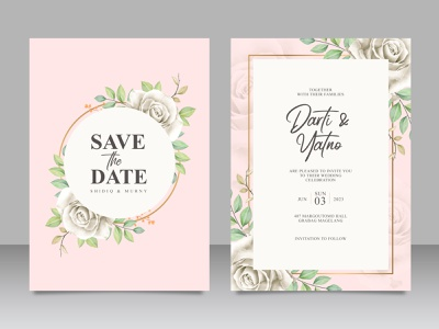 Beautiful floral frame wedding card set template frame beautiful wedding card template rose flower floral wedding watercolor save the date paint invitation flower celebration card