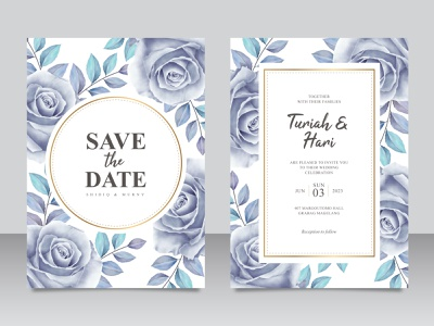 Elegant wedding invitation card template with roses blue aquarel elegant color bue wedding invitation wedding card frame rose flower floral wedding watercolor save the date paint invitation flower celebration card