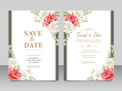 Floral wedding invitation card set template with golden frame