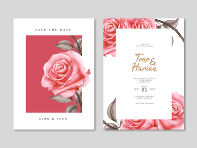Minimalist wedding card template with beautiful roses flowers