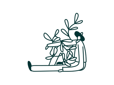 Hey I Planted This green plant story art vector line character illustration ui person