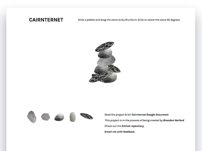 Cairnternet interaction ux ui draggable interface user game web javascript hiking cairn