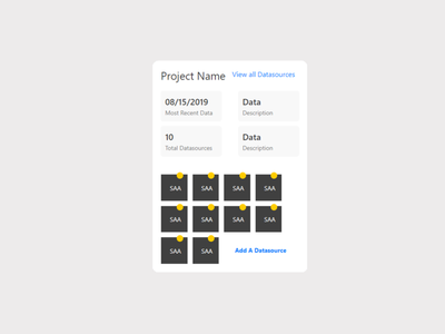 Project Data Card ui product design interaction user interface ux data card angular