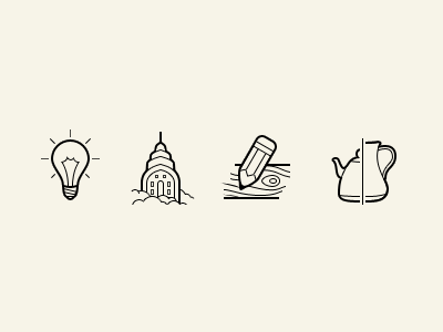 Simple icons set icons vector lamp kettle pencil wood skyscraper