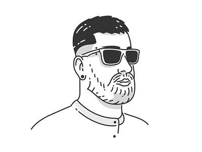 Self Portrait #3 portrait selfie beard man illustration colors vector outline
