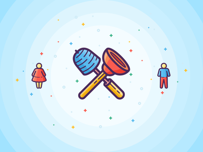 Bathroom Stuff shit woman man toilet brush plunger filled vector outline stroke icons