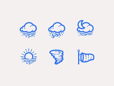 Clouds and Precipitation sun fog thunderstorm tornado illustration outline icons precipitation clouds weather