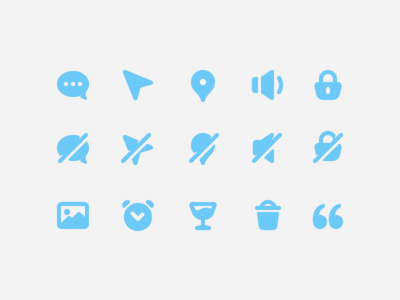 Blue Glyph Icons trash bin glass quote padlock chat bubble navigation geotag glyphs icons icon