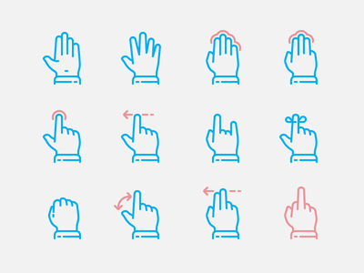 Gestures fingers touchscreen touch icon palm hands gestures