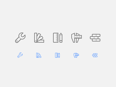 Live Home Icons (Part 2) outline vector icons home brick measure palette wrench