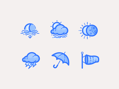 Clouds And Precipitation (filled version) moon eclipse thunder rain forecast weather illustrations icons precipitation clouds