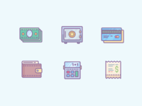 Colored Money Stuff Icons