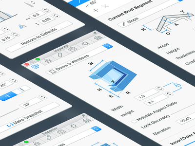 Live Home 3D Inspector panel icons macos ui ux sidebar inspector interface live home 3d
