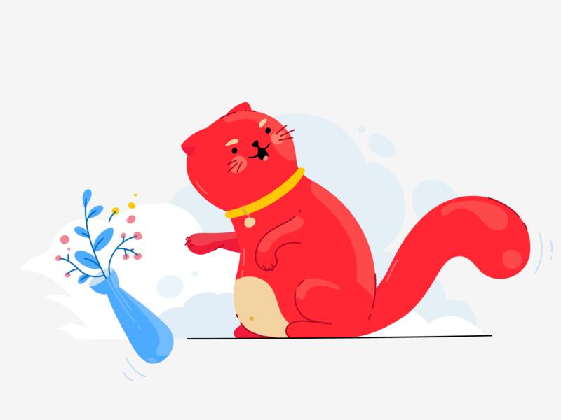 Nasty Kitten flat character product illustration error design cat illustration red colors vector illustration