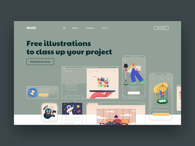 Ouch! vector flat typography web flinto design colors animation web design interface illustrations ux ui website