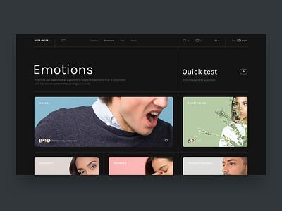 Emotions Explorer clean design minimal blog cards colors people portrait emotions photos layout concept typography ui ux interface design website