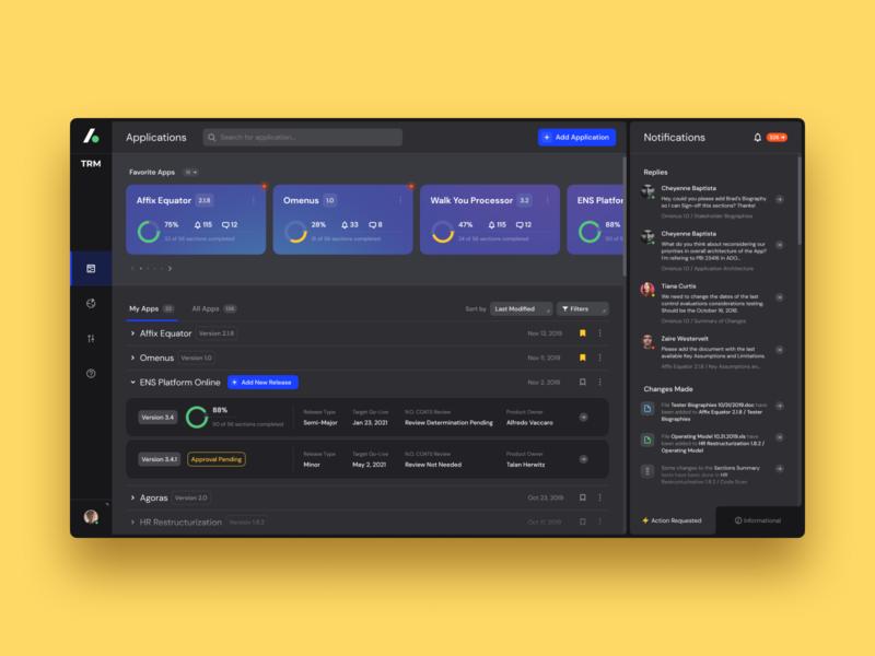 Technology Risk Management Platform dark ui dark theme software design enterprise ux dashboard web app design typography colors icon ui ux interface