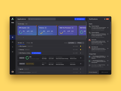 Technology Risk Management Platform dark ui dark theme software design enterprise ux dashboard web app design typography colors icon ui ux interface