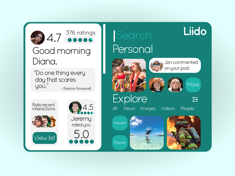 Liido Social Rating System graphic design icon typography settings sketch app social app explore future web browser graphics icons profile menu ux branding ui design illustration