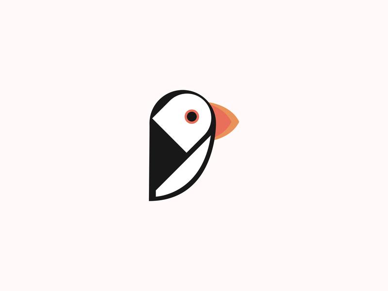 Puffin Logo minimal flat app vector illustration design logo branding
