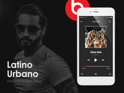 Latino Urbano Music App Dark Theme Player