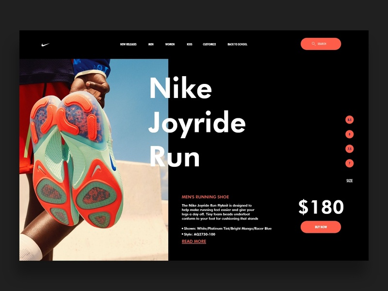 Nike - Sneakers interface product store shop e-commerce ecommerce design nike running sneakers ui uidesign web design website shoes nike shoes nike