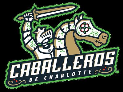 Caballeros de Charlotte - Primary Logo latino copa minor league baseball baseball illustration branding