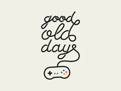 Good old days retro geek nerd console videogame vector nostalgic nostalgia vintage type typogaphy lettering