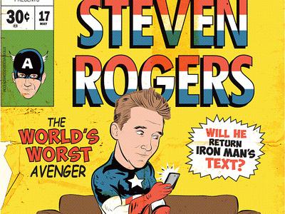 Steven Rogers captainamerica marvel illustration comedy poster