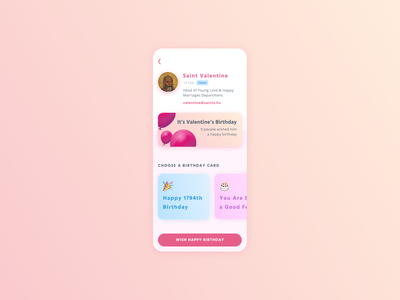 St.  Valentine always gets left out on his birthday valentines ux ui screen profile procreate mobile love interface figma dribbbleweeklywarmup birthday balloons app