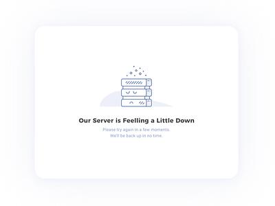 Server is (Feeling) Down web design web blue notification alert 404 computer down sad server error 404 error page error illustration minimalist