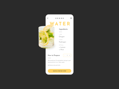 How to prepare water recipes bar mixology mobile app minimalist app design user interface mobile design application figma ui mobile funny cocktail ios app