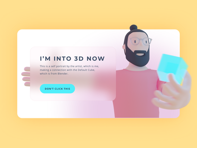 I'm into 3D now minimalist blur portrait illustration flat minimal ui web design design character render cycles blender3d blender 3d character 3d