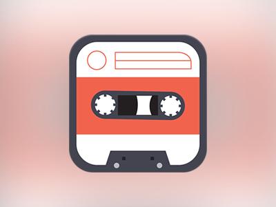 Casette casette player music flat app icon ios apple iphone ipad minimal minimalist