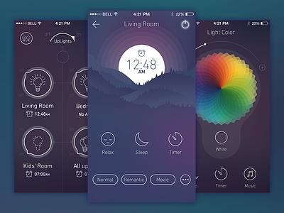 LightControl - App dark dashboard night lights ios iphone app ux ui
