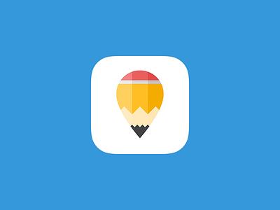Pencil Pin - App Icon iphone writer write map app icon icon app location pin pencil