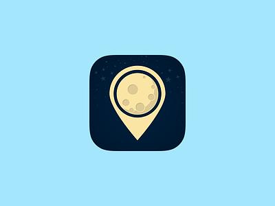 UnderMoon - App Icon store stars dark night moon pin location gps icon app