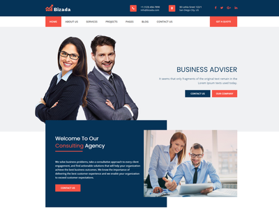 Bizada – Business Consulting HTML Template tax legal insurance financial finance corporate consulting consultant company coach business broker agency adviser accountant