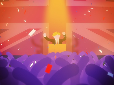 A Right Boris illustration still frame animation uk flag confetti campaign crowd