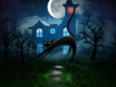 Halloween 2011 illustration photoshop halloween cats texture blue green