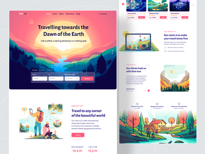 Travel Agency Landing Page clean ui uidesign designer 2021 trend homepage clean mockup trend ui colors minimal trip planner website design website web popular shot tour travelling travel agency travel
